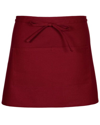 Half Bistro Apron with two pockets Burgundy Color