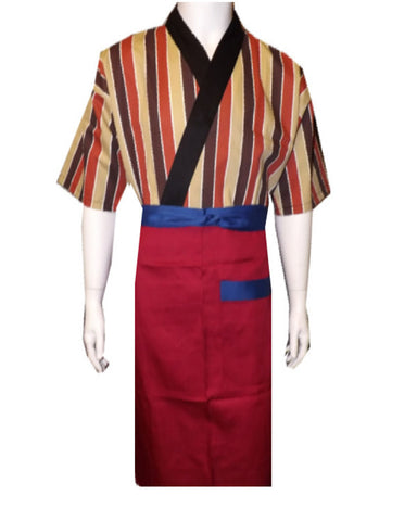 Fashionable Bistro Apron with One Pocket Red Burgundy Color - Fashion Designz Uniforms