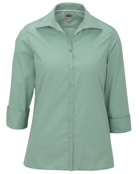 Ladies' Lightweight Open Neck Poplin Blouse-3/4 sleeve