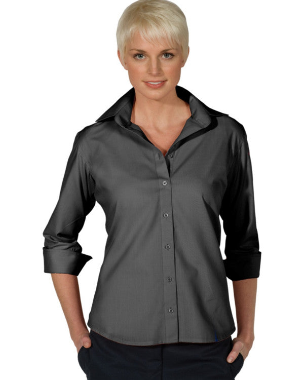 Ladies' Lightweight Open Neck Poplin Blouse-3/4 sleeve - Fashion Designz Uniforms