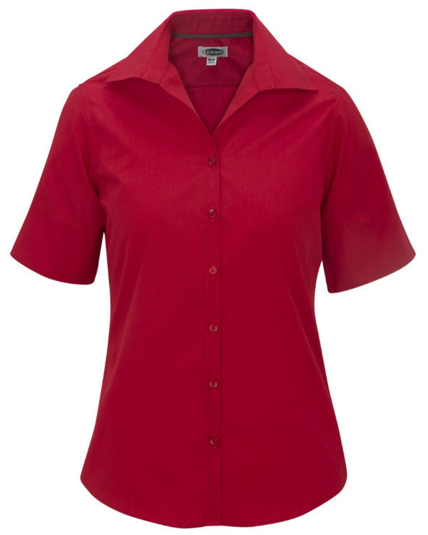 Ladies' Lightweight Poplin Blouse-Short Sleeve