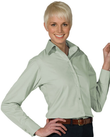 Ladies' Lightweight Open Neck Poplin Blouse-Long Sleeve - Fashion Designz Uniforms