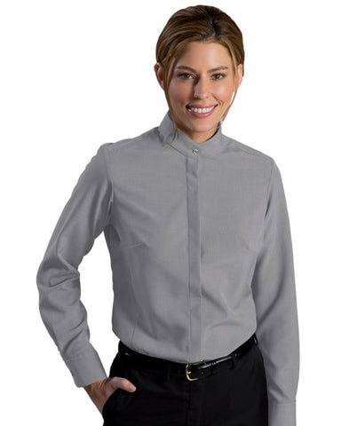 Ladies' Batiste Banded Collar Long Sleeve Blouse - Fashion Designz Uniforms
