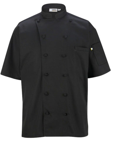 Mesh Back cloth buttons short sleeve chef coat Black Color - Fashion Designz Uniforms