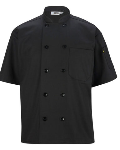 Short sleeve classic full cut chef coat Black Color - Fashion Designz Uniforms