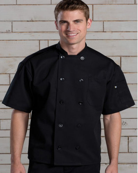 Mesh Back short sleeve classic chef coat Black Color - Fashion Designz Uniforms