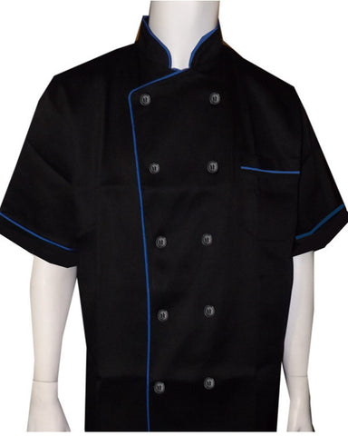 Short sleeve chef coat blue contrast piping on Black - Fashion Designz Uniforms