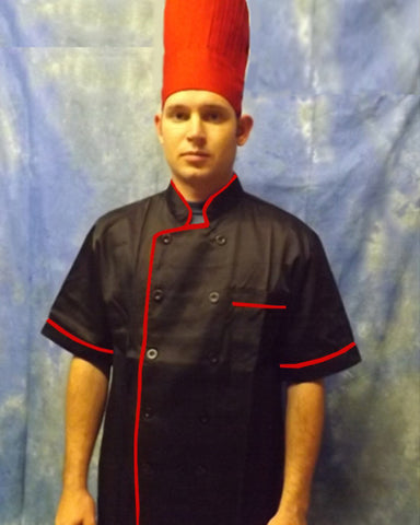 Short Sleeve Chef Coat Red contrast piping on black - Fashion Designz Uniforms