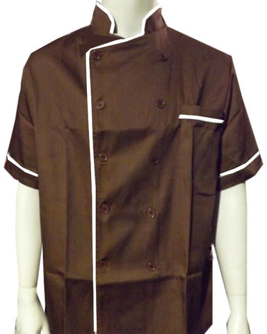 Short Sleeve Chef Coat White contrast piping on brown - Fashion Designz Uniforms