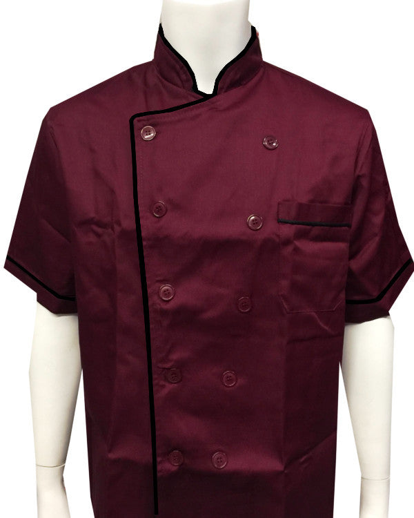 Short sleeve chef coat black contrast piping on Burgundy