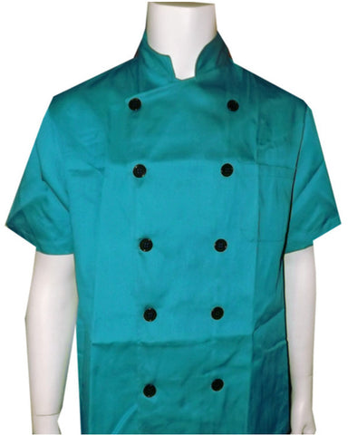Short Sleeve Chef Coat Green Blue Color - Fashion Designz Uniforms