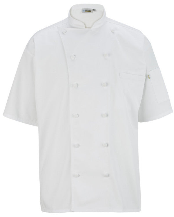 Mesh Back cloth buttons short sleeve chef coat white Color - Fashion Designz Uniforms