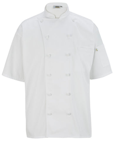 Short sleeve Mid-weight classic chef coat White Color - Fashion Designz Uniforms