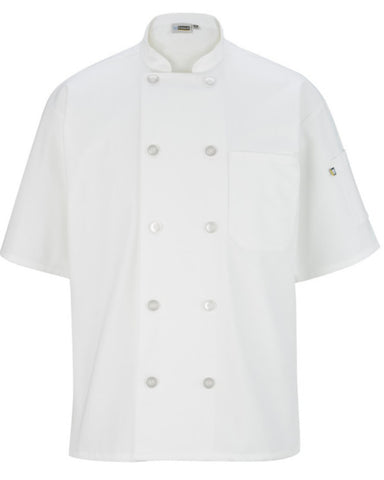 Short sleeve classic full cut chef coat White Color - Fashion Designz Uniforms