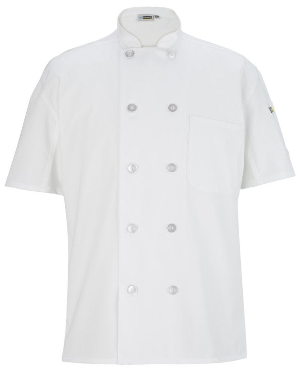 Mesh Back short sleeve classic chef coat White Color