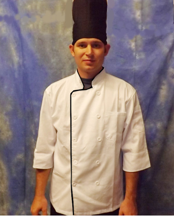3/4 Sleeve Chef Coat White with black contrast piping - Fashion Designz Uniforms