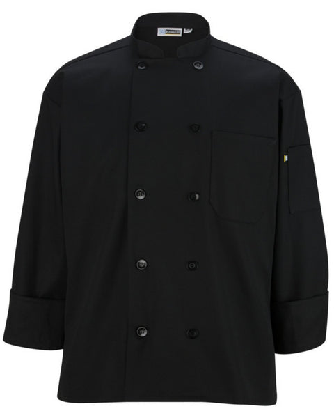 Long Sleeve Classic full cut chef coat with 10 matching buttons Black Color - Fashion Designz Uniforms