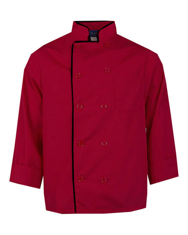 Long Sleeve Chef Coat Red with black contrast piping - Fashion Designz Uniforms