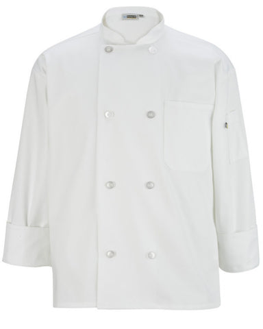 Long sleeve casual full cut chef coat White Color - Fashion Designz Uniforms