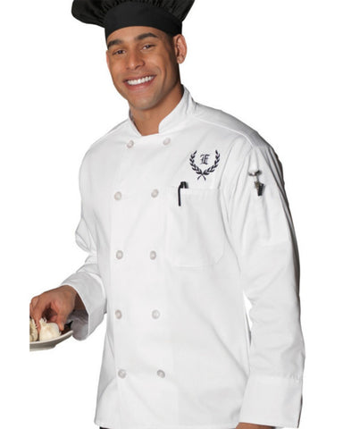 Long Sleeve Classic full cut chef coat with 10 matching buttons White Color - Fashion Designz Uniforms