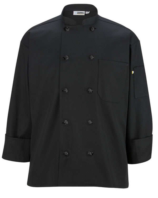 Classic Long Sleeve Chef Coat with Knot Button BLACK Color - Fashion Designz Uniforms