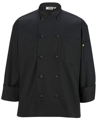 Classic Long Sleeve Chef Coat with Knot Button BLACK Color