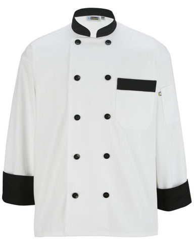 Long sleeve collar and cuff trim accents chef coat - Fashion Designz Uniforms