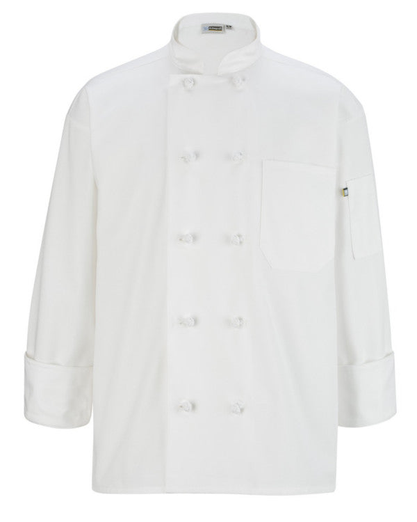 Classic Long Sleeve Chef Coat with Knot Button WHITE Color - Fashion Designz Uniforms