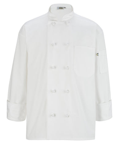 Classic Long Sleeve Chef Coat with Knot Button WHITE Color