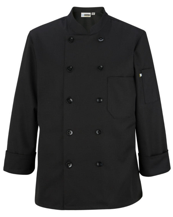 Lady Long Sleeve Traditional Chef Coat Black Color - Fashion Designz Uniforms