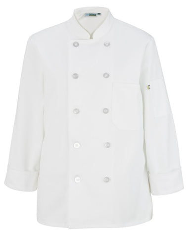 Lady Long Sleeve Traditional Chef Coat White Color - Fashion Designz Uniforms