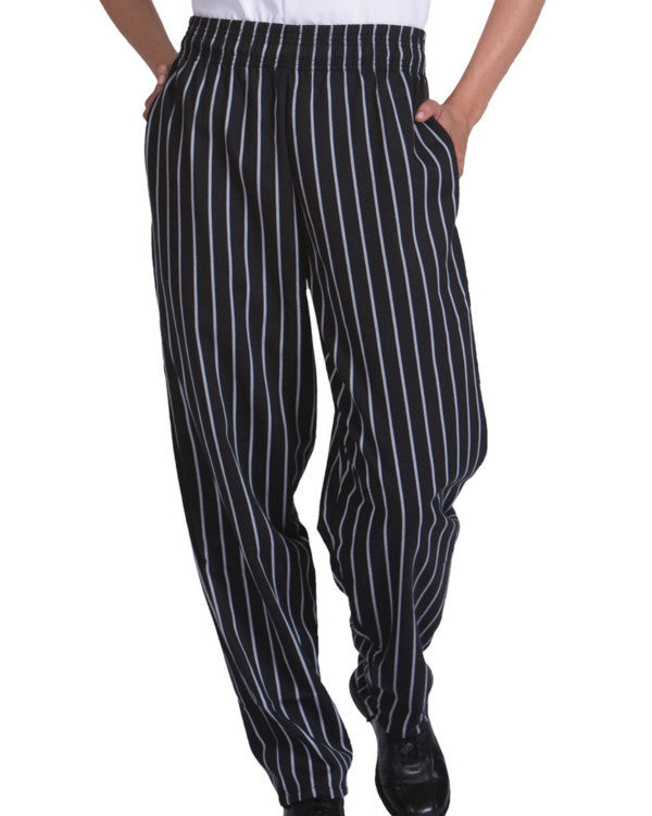 Basic Baggy Chef Pant with performance fabric Chalk Stripe - Fashion Designz Uniforms