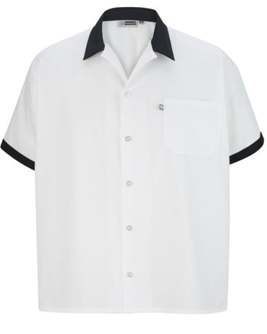 Unisex Cook Shirt with Black Contrasting Trim