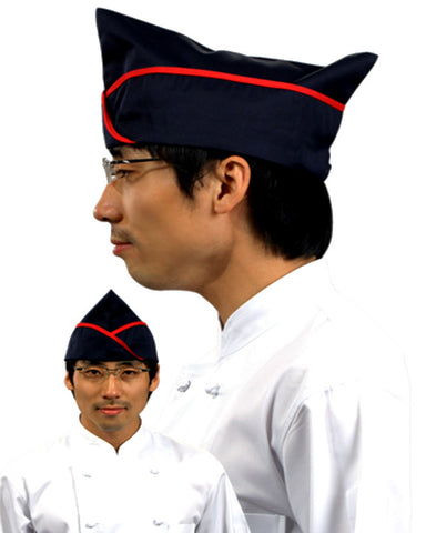 Adjustable Chef Garrison Hat Black with Red Trim