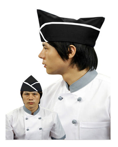 Adjustable Chef Garrison Hat white contrast piping on black - Fashion Designz Uniforms