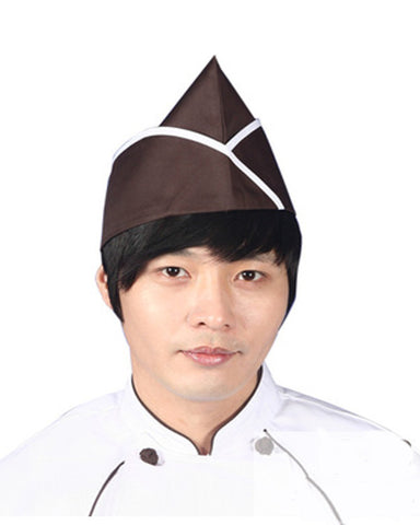 Adjustable Chef Garrison Hat Coffee Color with White Trim