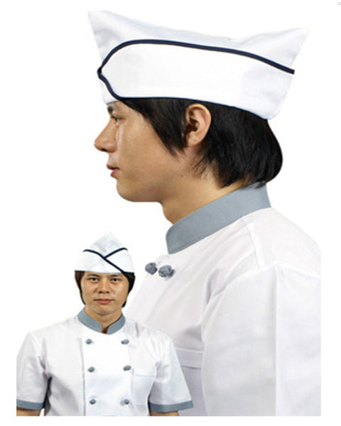 Adjustable Chef Garrison Hat Black contrast piping on white - Fashion Designz Uniforms