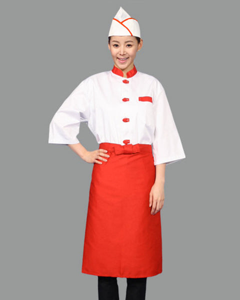Adjustable Chef Garrison Hat Red contrast piping on white