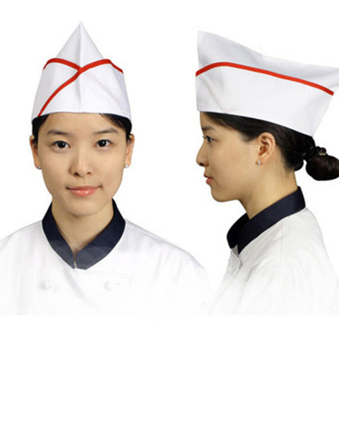 Adjustable Chef Garrison Hat Red contrast piping on white - Fashion Designz Uniforms