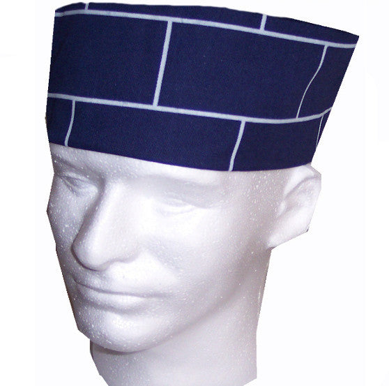 Chef Skull Caps Navy with square prints - Fashion Designz Uniforms