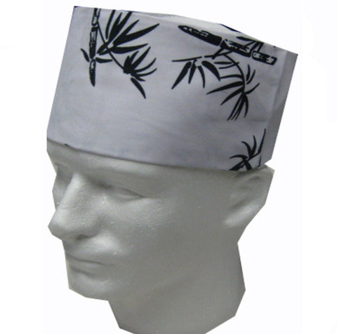 Sushi Chef Mesh Top Skull Hat White with Bamboo Prints - Fashion Designz Uniforms