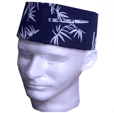 Sushi Chef Mesh Top Skull Hat Bamboo Print on Dark Blue - Fashion Designz Uniforms