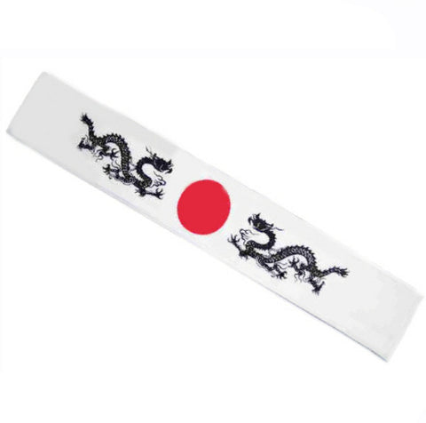Sushi chef headband Dragon Print in white - Fashion Designz Uniforms