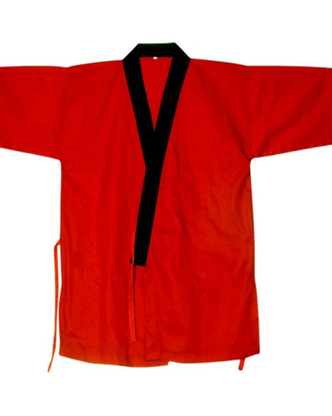 Fashion Designz Sushi Chef Coat Serving Happi Coat Black collar on red - Fashion Designz Uniforms