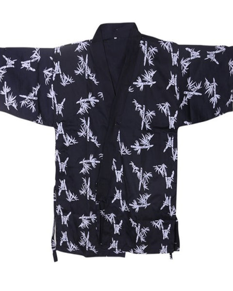 Fashion Designz Sushi Chef Coat Bamboo prints on Dark Blue - Fashion Designz Uniforms