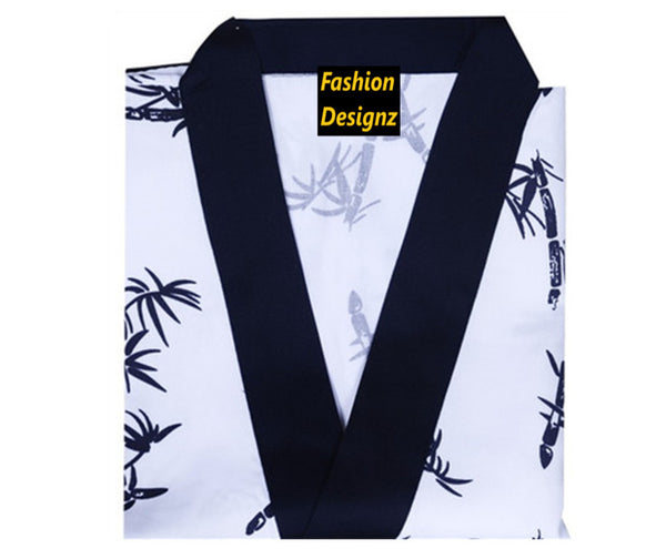 Fashion Designz Sushi Server Happi Coat Bamboo prints on white - Fashion Designz Uniforms