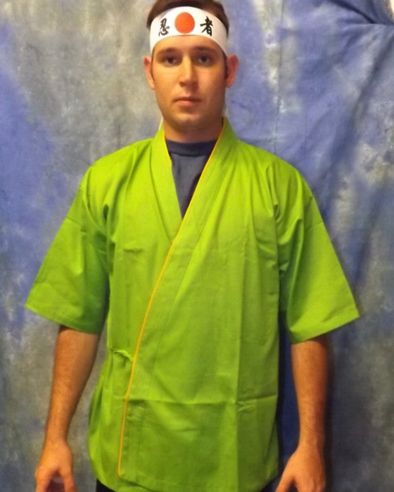 Sushi Chef Jacket Yellow contrast piping on green - Fashion Designz Uniforms