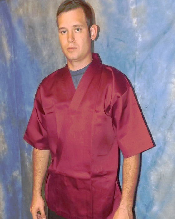 Sushi Chef Serving Happi Coat Burgundy color - Fashion Designz Uniforms