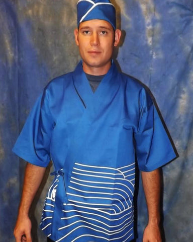 Popular Sushi Chef Happi Coat Fish Koi on Blue