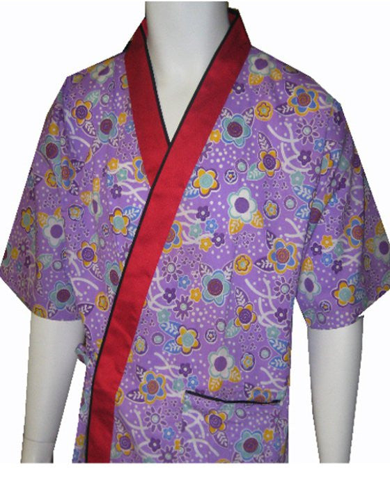 Sushi Server Happi Coat flowers on purple 35% OFF - Fashion Designz Uniforms
